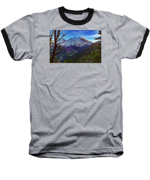 Baseball T-Shirt featuring the photograph Mt Rainier At Emmons Glacier by Ken Stanback