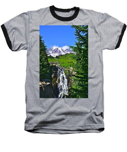 Mt. Rainier From Myrtle Falls Baseball T-Shirt