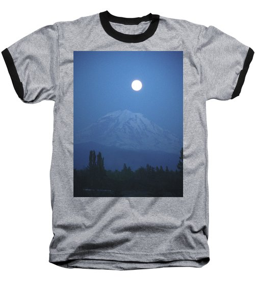 Mt Rainier Full Moon Baseball T-Shirt