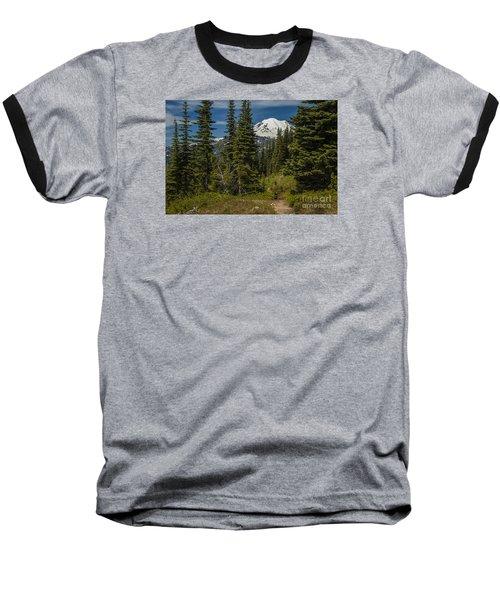 Mt. Rainier Naches Trail Landscape Baseball T-Shirt by Chuck Flewelling