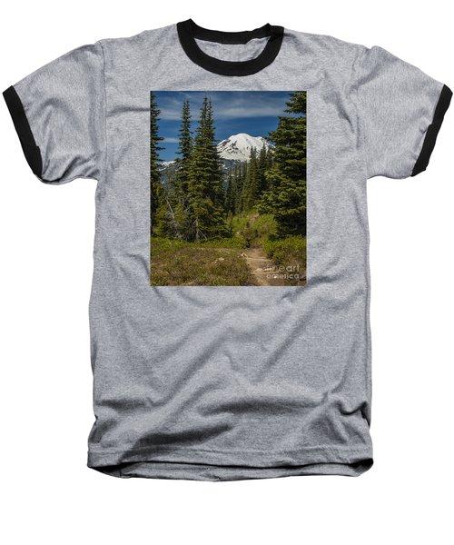 Mt. Rainier Naches Trail Portrait Baseball T-Shirt by Chuck Flewelling