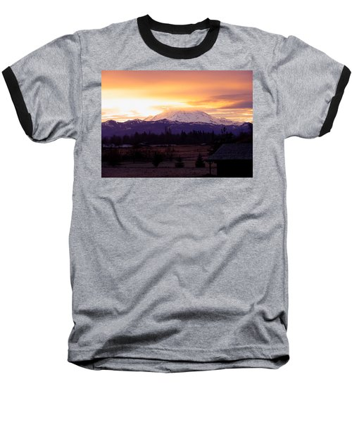 Mt. Rainier On Fire Baseball T-Shirt
