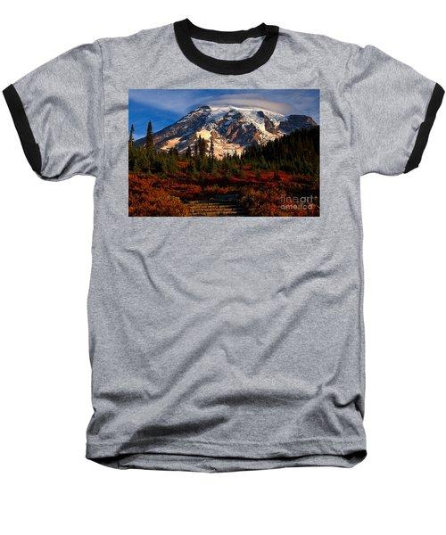 Mt. Rainier Paradise Morning Baseball T-Shirt by Adam Jewell