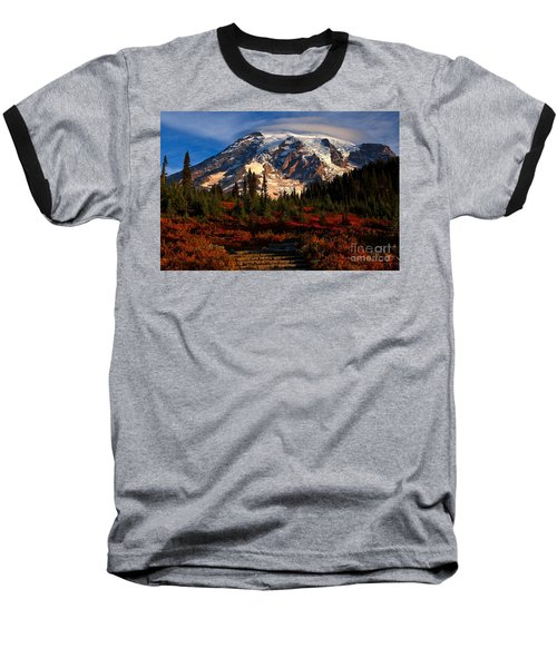 Mt. Rainier Paradise Morning Baseball T-Shirt