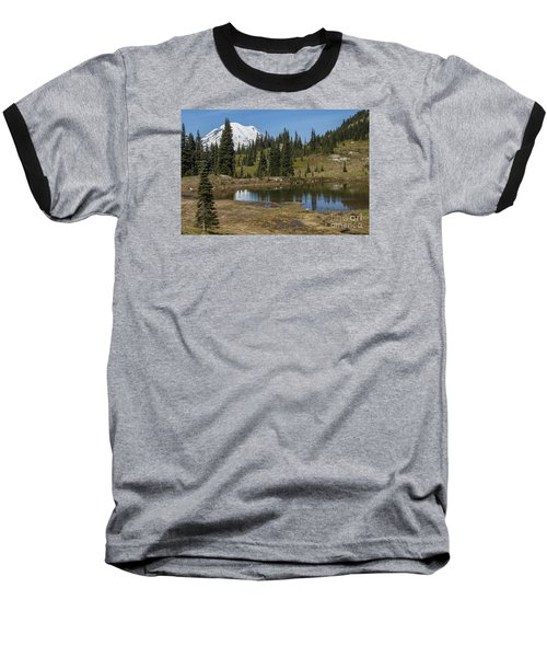 Mt Rainier Reflection Landscape Baseball T-Shirt by Chuck Flewelling