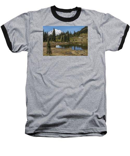 Mt Rainier Reflection Landscape Baseball T-Shirt