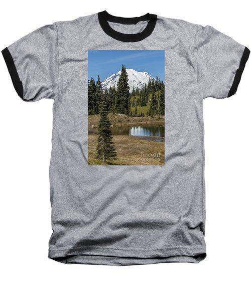 Mt Rainier Reflection Portrait Baseball T-Shirt