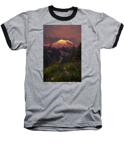 Mt. Rainier Sunrise Baseball T-Shirt
