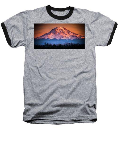 Mt. Rainier Sunset Baseball T-Shirt