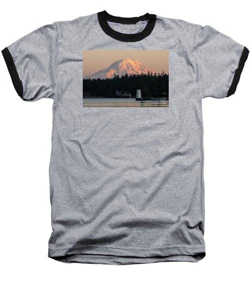 Mt. Rainier Sunset Glow Baseball T-Shirt by Chuck Flewelling