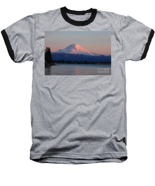 Mt Rainier Sunset Baseball T-Shirt