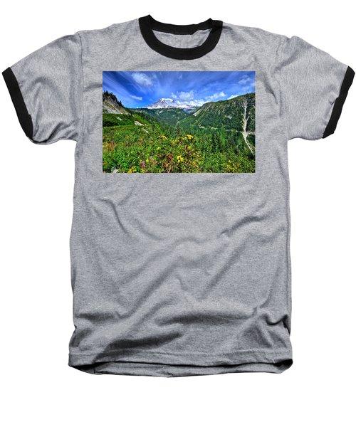 Mt. Rainier Through The Clouds  Baseball T-Shirt