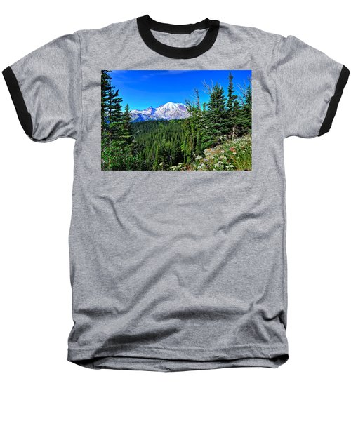 Mt. Rainier Wildflowers Baseball T-Shirt
