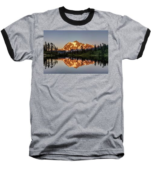 Mt Shuksan Reflection Baseball T-Shirt by Pierre Leclerc Photography
