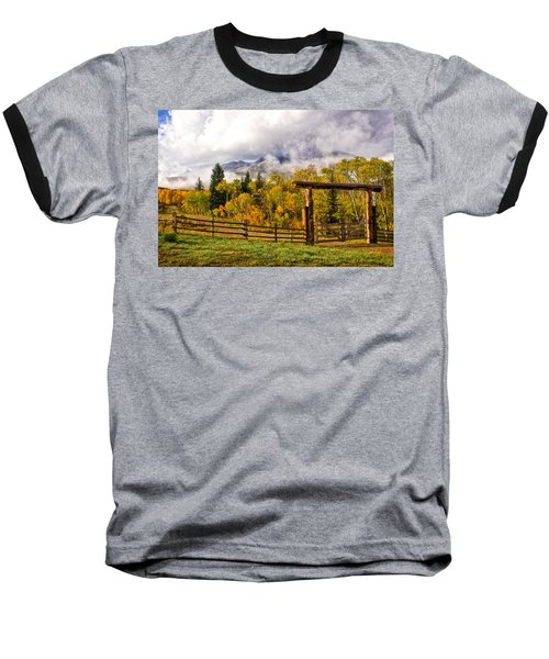 Mt Sopris Under The Clouds Baseball T-Shirt