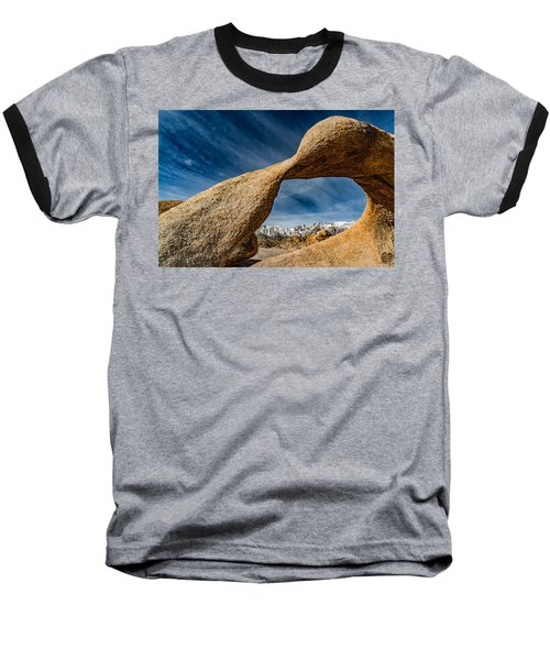 Mt Whitney Through Mobius Arch Baseball T-Shirt by Janis Knight