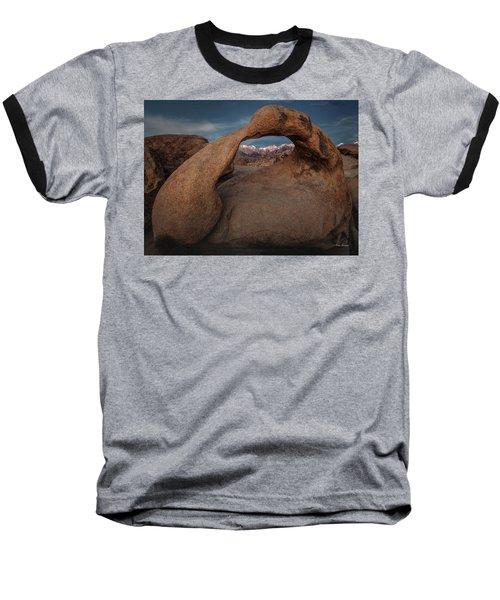 Mt. Whitney Through Mobius Arch Baseball T-Shirt