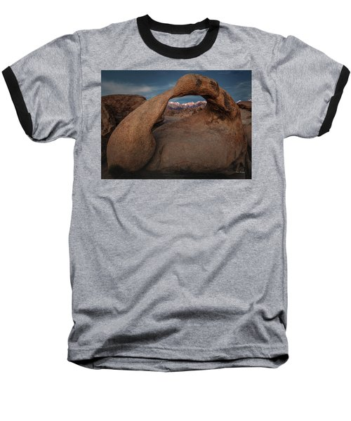 Mt. Whitney Through Mobius Arch Baseball T-Shirt