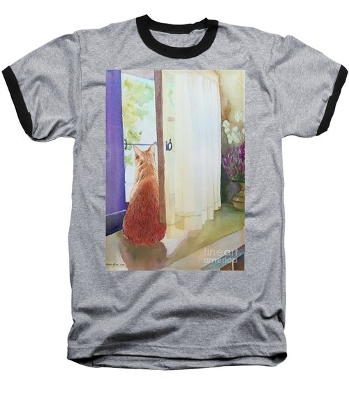 Muffin At Window Baseball T-Shirt