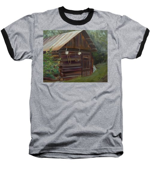 Baseball T-Shirt featuring the painting Mulberry Farms Grainery by Donna Tuten