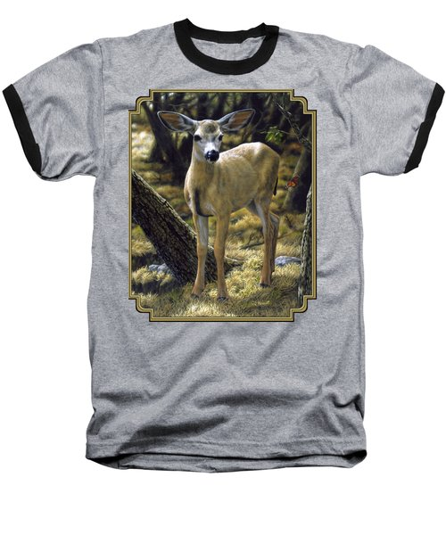 Mule Deer Fawn - Monarch Moment Baseball T-Shirt by Crista Forest
