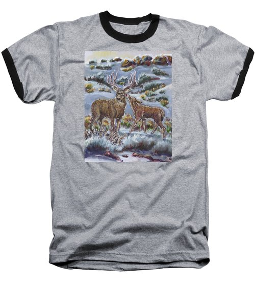 Baseball T-Shirt featuring the painting Mule Deer Lovers From River Mural by Dawn Senior-Trask