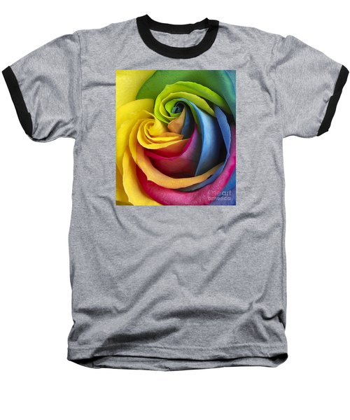 Rainbow Rose Baseball T-Shirt by Tony Cordoza