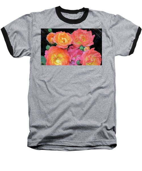 Multi-color Roses Baseball T-Shirt by Jerry Battle