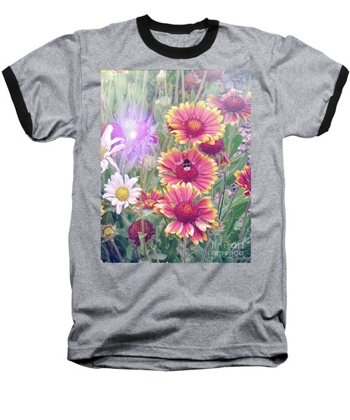 Multi Coloured Flowers With Bee Baseball T-Shirt by Lynn Bolt