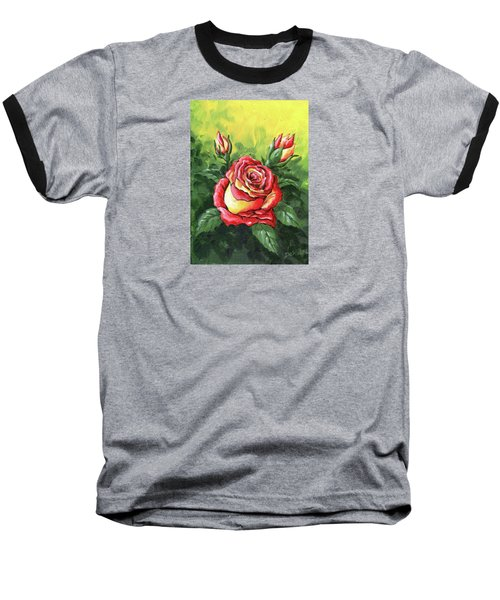 Multi Coloured Rose Sketch Baseball T-Shirt
