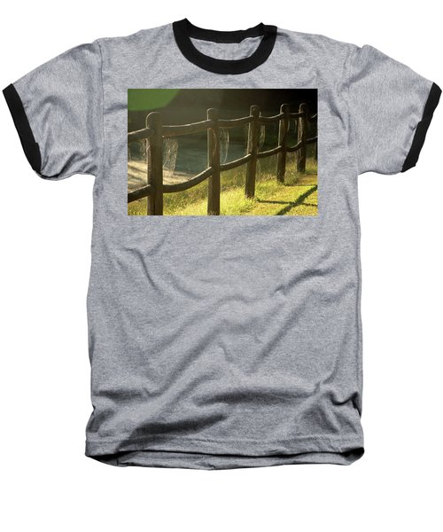 Multiple Spiderwebs On Wooden Fence Baseball T-Shirt