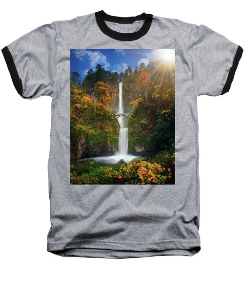 Multnomah Falls In Autumn Colors -panorama Baseball T-Shirt