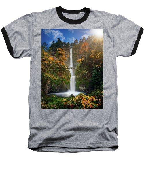 Multnomah Falls In Autumn Colors -panorama Baseball T-Shirt