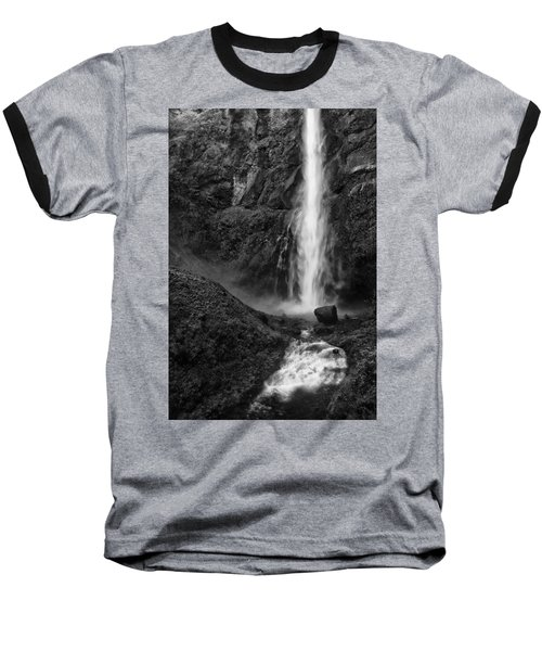 Multnomah Falls In Black And White Baseball T-Shirt