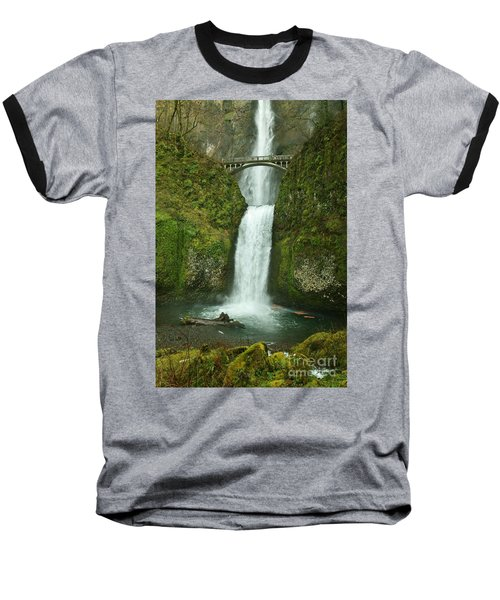 Multnomah Falls Baseball T-Shirt by Sheila Ping