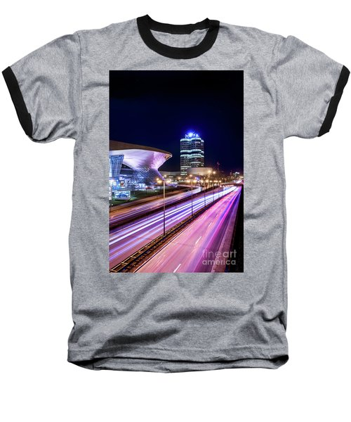 Baseball T-Shirt featuring the pyrography Munich - Bmw City At Night by Hannes Cmarits