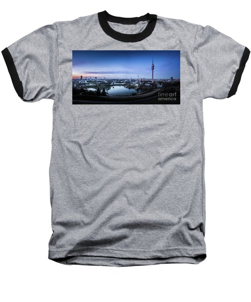 Baseball T-Shirt featuring the photograph Munich - Watching The Sunset At The Olympiapark by Hannes Cmarits