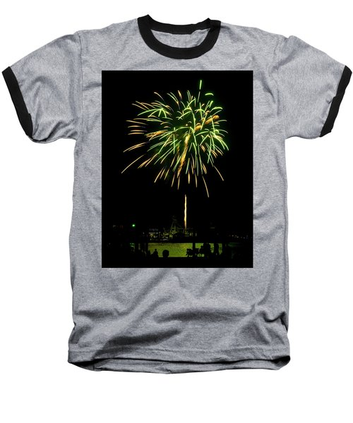 Murrells Inlet Fireworks Baseball T-Shirt by Bill Barber