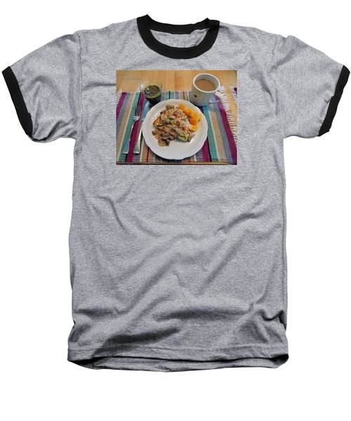 Mushroom Gravy Over Breakfast Quiche  Baseball T-Shirt by Jana Russon