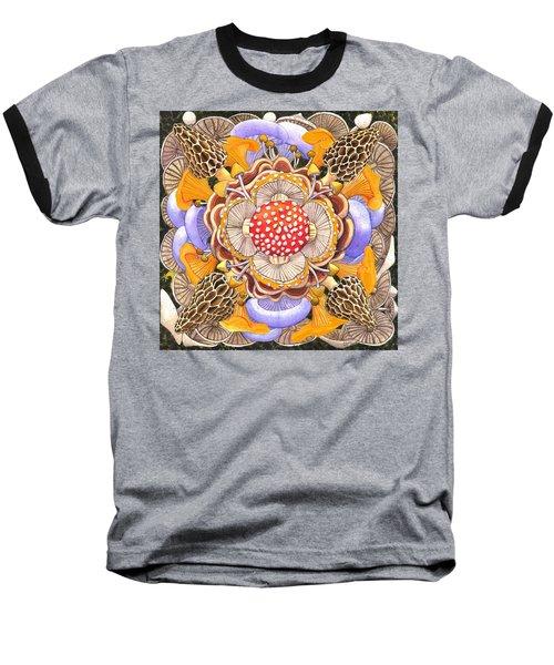 Mushroom Mandala Baseball T-Shirt