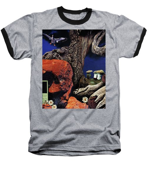 Baseball T-Shirt featuring the painting Mushroom People - Collage by Linda Apple