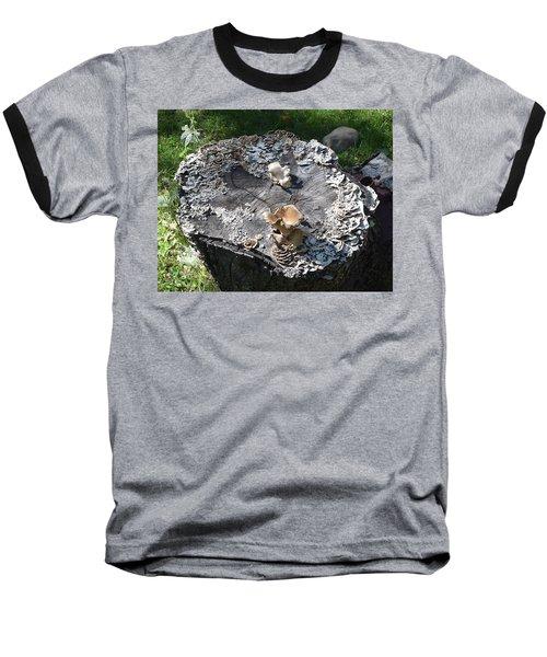 Baseball T-Shirt featuring the photograph Mushroom Stump by R  Allen Swezey