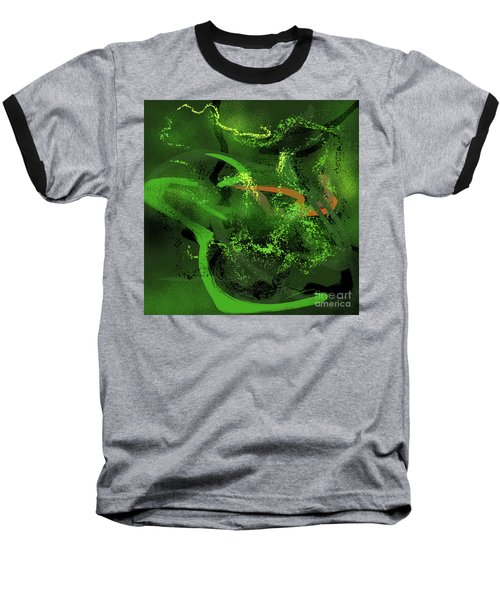 Baseball T-Shirt featuring the painting Music In Green by S G