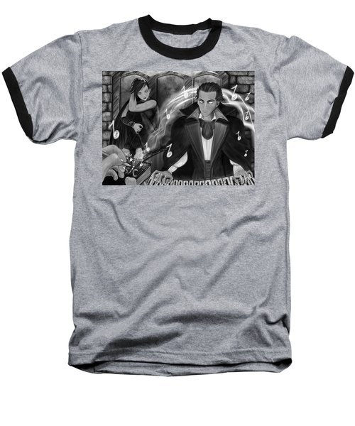 Baseball T-Shirt featuring the painting Music Is Magic - Black And White Fantasy Art by Raphael Lopez