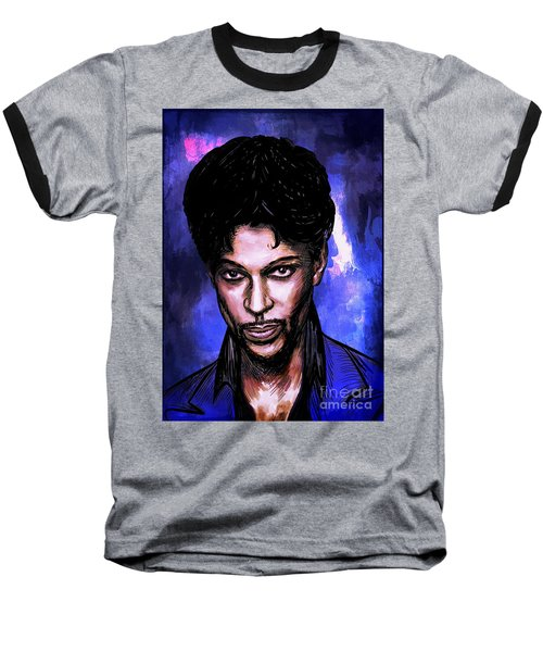 Baseball T-Shirt featuring the painting Music Legend  Prince by Andrzej Szczerski