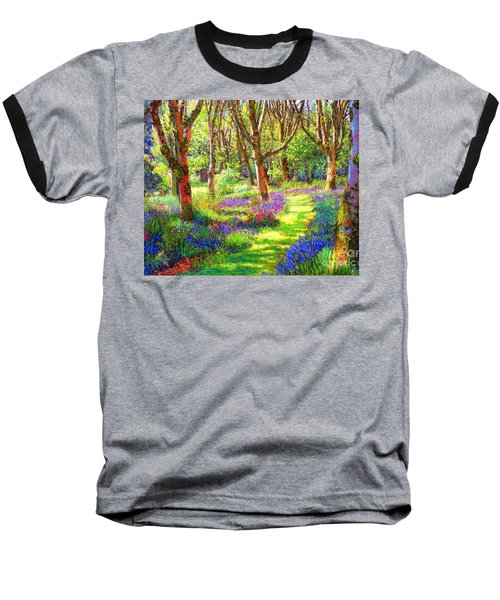 Baseball T-Shirt featuring the painting Music Of Light, Bluebell Woods by Jane Small