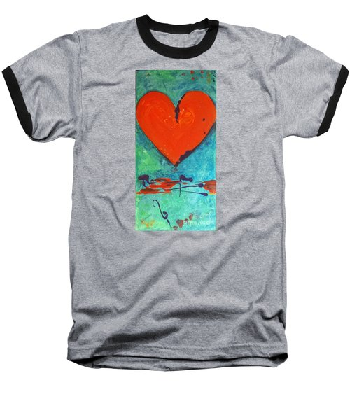 Baseball T-Shirt featuring the painting Musical Heart by Diana Bursztein