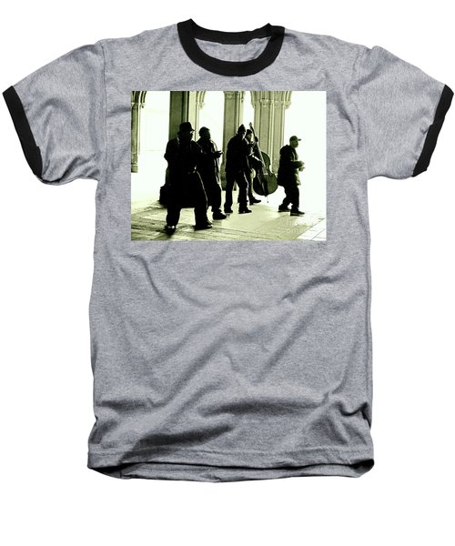 Baseball T-Shirt featuring the photograph Musicians In The Park by Sandy Moulder