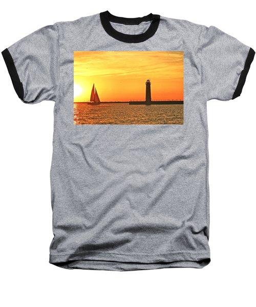 Muskegon Sunset Baseball T-Shirt by Michael Peychich