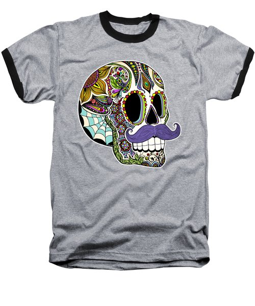 Baseball T-Shirt featuring the drawing Mustache Sugar Skull Vintage Style by Tammy Wetzel